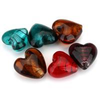 Silberfolie Lampwork Perlen, Herz, gemischte Farben, 25-28x24-28x15-17mm, Bohrung:ca. 2.5mm, ca. 20PCs/Menge, verkauft von Menge