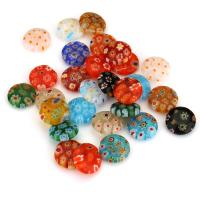 Inneren Blume-Lampwork-Beads, Lampwork, innen Blume, gemischte Farben, 12x4mm, Bohrung:ca. 1mm, ca. 50PCs/Menge, verkauft von Menge
