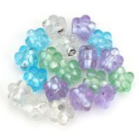 Silberfolie Lampwork Perlen, Blume, gemischte Farben, 12x12x9mm, Bohrung:ca. 2mm, ca. 50PCs/Menge, verkauft von Menge
