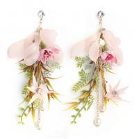 Stoff Tropfen Ohrring, mit Kunststoff Perlen & Zinklegierung, Blume, goldfarben plattiert, für Braut, frei von Nickel, Blei & Kadmium, 135*60mm, verkauft von Paar