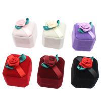 Baumwollsamt Ringkasten, mit Karton & Nylon, Quadrat, plattiert, keine, 50x60x40mm, verkauft von PC