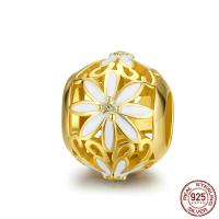 925 Sterlingsilber European Perlen, 925er Sterling Silber, Chrysamthemum, vergoldet, Micro pave Zirkonia, 12x10mm, Bohrung:ca. 4.5mm, verkauft von PC