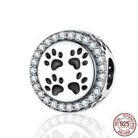 Befestiger Zirkonia Sterlingsilber Perlen, 925er Sterling Silber, Fußabdruck, versilbert, Micro pave Zirkonia, 11x8x12mm, Bohrung:ca. 4.5mm, verkauft von PC