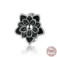 925 Sterling Silber Perlen, 925er Sterling Silber, Lotus, plattiert, Emaille, schwarz, 9x9mm, Bohrung:ca. 4.5mm, verkauft von PC