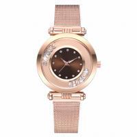 Damen Armbanduhr, Zinklegierung, mit Glas, Rósegold-Farbe plattiert, für Frau & mit Strass, keine, frei von Nickel, Blei & Kadmium, 35x8mm, Länge:ca. 9.06 ZollInch, verkauft von PC
