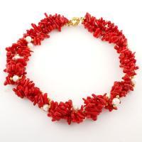 Acryl Halskette, mit ABS-Kunststoff-Perlen & Eisen, goldfarben plattiert, für Frau, rot, 14x5x3mm, Länge:ca. 16.5 ZollInch, 2SträngeStrang/Tasche, verkauft von Tasche