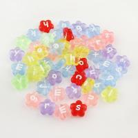 Gemischte Acrylperlen, Acryl, Blume, plattiert, gemischte Farben, 11*4mm, Bohrung:ca. 0.5mm, 60PC/Tasche, verkauft von Tasche