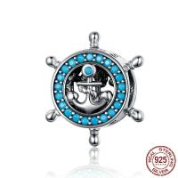 925 Sterlingsilber European Perlen, 925er Sterling Silber, Kreisring, platiniert, 12x8x12mm, Bohrung:ca. 4.5mm, verkauft von PC