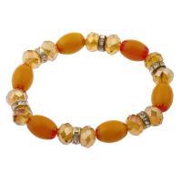 Millefiori Lampwork Armband, antik silberfarben plattiert, für Frau, orange, 16x12mm, Länge:ca. 7.5 ZollInch, 10SträngeStrang/Menge, verkauft von Menge