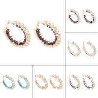 Eisen Kreolen, mit Glasperlen & ABS-Kunststoff-Perlen, Kreisring, goldfarben plattiert, für Frau, keine, frei von Nickel, Blei & Kadmium, 50x6mm, verkauft von Paar