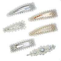 Schnabelspange, Zinklegierung, mit Kunststoff Perlen, plattiert, verschiedene Stile für Wahl & für Frau, keine, 90mm*28mm,90mm*28mm,70mm*30mm,75mm*28mm,82mm*28mm, verkauft von PC