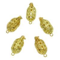 Messing Schnappschließe, goldfarben plattiert, frei von Nickel, Blei & Kadmium, 21x9mm, Bohrung:ca. 2mm, ca. 10PCs/Tasche, verkauft von Tasche