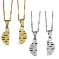 Edelstahl Ehepaar Halskette, Oval-Kette, keine, 7.5x19mm,1.5mm,7.5x19mm,1.5mm, Länge:ca. 17 ZollInch, ca. 17 ZollInch, verkauft von Paar