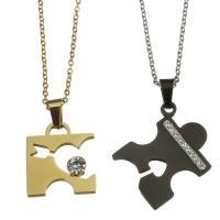 Edelstahl Ehepaar Halskette, mit Ton, Oval-Kette, 18x20mm,1.5mm,25x29mm,1.5mm, Länge:ca. 19 ZollInch, ca. 17 ZollInch, verkauft von Paar