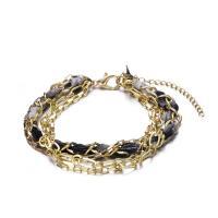Zinklegierung kombiniertes Armband, mit Stoff, goldfarben plattiert, für Frau & 4-Strang, frei von Nickel, Blei & Kadmium, 320mm, verkauft per ca. 12.5 ZollInch Strang