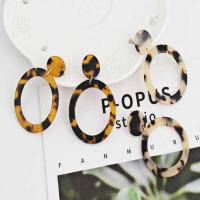 Acryl Tropfen Ohrring, Edelstahl Stecker, Kreisring, für Frau & Leopard Muster, keine, 38x55mm, verkauft von Paar