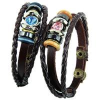PU Leder Armband, mit Nylonschnur & Zinklegierung, für paar & mit Strass, keine, verkauft per ca. 8.6 ZollInch Strang