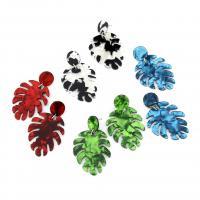 Acryl Tropfen Ohrring, Edelstahl Stecker, Blatt, für Frau, keine, 37x60mm, verkauft von Paar