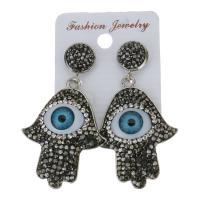 Ton Tropfen Ohrring, mit Gummi Earnut, Evil Eye Hamsa, für Frau, frei von Nickel, Blei & Kadmium, 56mm,33x43mm, verkauft von Paar