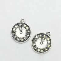 Zinklegierung Uhr Anhänger, Wecker, antik silberfarben plattiert, frei von Nickel, Blei & Kadmium, 21x18x1.50mm, 100PCs/Tasche, verkauft von Tasche