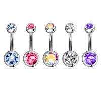 Edelstahl -Bauch-Ring, 316 Edelstahl, verschiedene Stile für Wahl & für Frau & mit Strass, 5MM*1.6*10MM*8mm, 2/setzen, verkauft von setzen