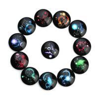 Lampwork Cabochon, Sternendesign & verschiedene Größen vorhanden & flache Rückseite, gemischte Farben, Bohrung:ca. 5mm, 20PCs/Tasche, verkauft von Tasche