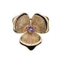 Haarstock-Befunde, Messing, Blume, vergoldet, mit Strass, frei von Nickel, Blei & Kadmium, 19*19mm, 10PCs/Menge, verkauft von Menge