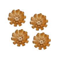 Messing Perlenkappe, Blume, vergoldet, frei von Nickel, Blei & Kadmium, 14mm, Bohrung:ca. 1mm, 10PCs/Menge, verkauft von Menge