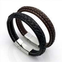 Leder Armband, mit Edelstahl, Edelstahl Magnetverschluss, plattiert, unisex & verschiedene Größen vorhanden, keine, verkauft von Strang