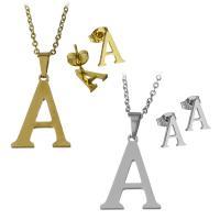 Edelstahl Schmucksets, Halskette, Buchstaben sind von A bis Z & Oval-Kette & verschiedene Stile für Wahl & für Frau, keine, Länge:ca. 17 ZollInch, ca. 18 ZollInch, verkauft von setzen