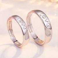 Edelstahl Paar- Ring, plattiert, verschiedene Stile für Wahl & mit Brief Muster, Silberfarbe, 4mm,4.4mm, verkauft von PC