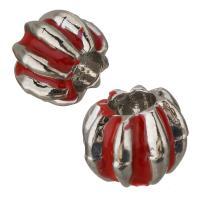 Messing European Perlen, silberfarben plattiert, Emaille, rot, frei von Nickel, Blei & Kadmium, 10x8.50mm, Bohrung:ca. 4.5mm, 50PCs/Menge, verkauft von Menge