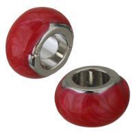 Messing Großes Loch Perlen, silberfarben plattiert, Emaille, rot, frei von Nickel, Blei & Kadmium, 9x5mm, Bohrung:ca. 4mm, ca. 50PCs/Menge, verkauft von Menge