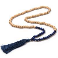Holz Franse Halskette, mit Lapislazuli & Polyester, für Frau, keine, verkauft per 17.7 ZollInch Strang