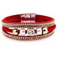 Baumwollsamt Armband, mit Strass & Kunststoff Perlen, Zinklegierung Magnetverschluss, für Frau, keine, 16x19mm, verkauft von Strang