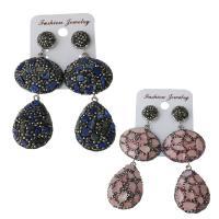 Ton Tropfen Ohrring, mit Naturstein & Gummi Earnut, für Frau, keine, frei von Nickel, Blei & Kadmium, 22.5x32.5mm,29x29.5mm,74mm, verkauft von Paar