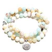 Natürliches Amazonite Bracelets, Amazonit, mit Zinklegierung, flache Runde, plattiert, unisex & verschiedene Stile für Wahl, verkauft per ca. 21.6-22.4 ZollInch Strang