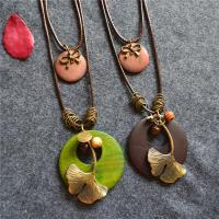 Zinklegierung Pullover Halskette, mit Gewachsten Baumwollkordel & Holz, plattiert, für Frau & Multi-Strang, keine, 195x20mm, verkauft per ca. 33 ZollInch Strang