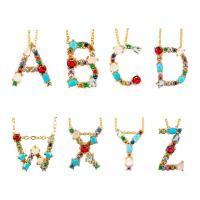 Messing Halskette, mit kubischer Zirkonia & Edelstein, goldfarben plattiert, Micro pave Zirkonia & für Frau, verkauft per ca. 20 ZollInch Strang