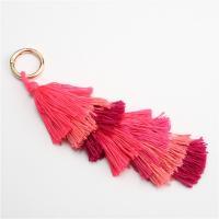 Plüsch Karabiner mit Schlüsselringen, mit Messing, QuasteTroddel, plattiert, gefärbt & für Frau, rot, verkauft per ca. 9.4 ZollInch Strang