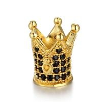 Befestigte Zirkonia Perlen, Messing, mit kubischer Zirkonia, Krone, plattiert, DIY & Micro pave Zirkonia, keine, 9.50x11mm, 5PCs/Menge, verkauft von Menge