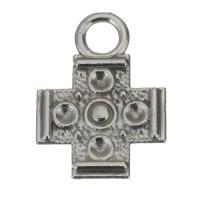 Messing Kreuz Anhänger, Silberfarbe, frei von Nickel, Blei & Kadmium, 12x16x2mm,1.5mm, Bohrung:ca. 3mm, ca. 100PCs/Menge, verkauft von Menge