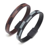 Lederband Armband, PU Leder, mit Zinklegierung, rund, plattiert, verschiedene Größen vorhanden & verschiedene Stile für Wahl & für den Menschen, keine, frei von Nickel, Blei & Kadmium, 210x10mm,210x5mm, verkauft von PC