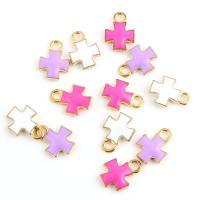 Zinklegierung Kreuz Anhänger, plattiert, Emaille, keine, frei von Nickel, Blei & Kadmium, 10*15mm, 10/Tasche, verkauft von Tasche
