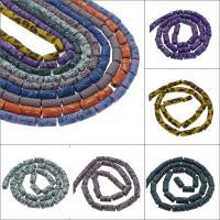 Polymer Ton Perlen , Zylinder, verschiedene Muster für Wahl, 6x12mm, Bohrung:ca. 1mm, 10SträngeStrang/Tasche, ca. 30PCs/Strang, verkauft von Tasche
