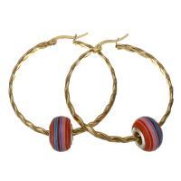 Edelstahl-Hebel zurück-Ohrring, Edelstahl, mit Acryl, goldfarben plattiert, für Frau, 43x46mm,9x14mm, verkauft von Paar