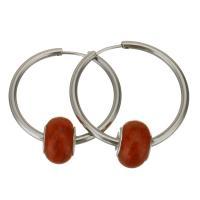 Edelstahl-Hebel zurück-Ohrring, Edelstahl, mit Acryl, für Frau, originale Farbe, 35x35m,9x14mm, verkauft von Paar