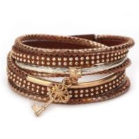 PU Schnur Armbänder, PU Leder, mit Baumwollsamt & Zinklegierung, für Frau & mit Strass, keine, 18x395mm, verkauft von Strang