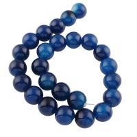 Natürliche Streifen Achat Perlen, rund, blau, 16x15mm, Bohrung:ca. 1mm, ca. 25PCs/Strang, verkauft per 11.8 ZollInch Strang