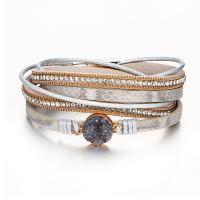 PU Leder Armband, mit Harz, rund, mehrschichtig & für Frau, goldfarben, frei von Nickel, Blei & Kadmium, 395mm, verkauft von PC